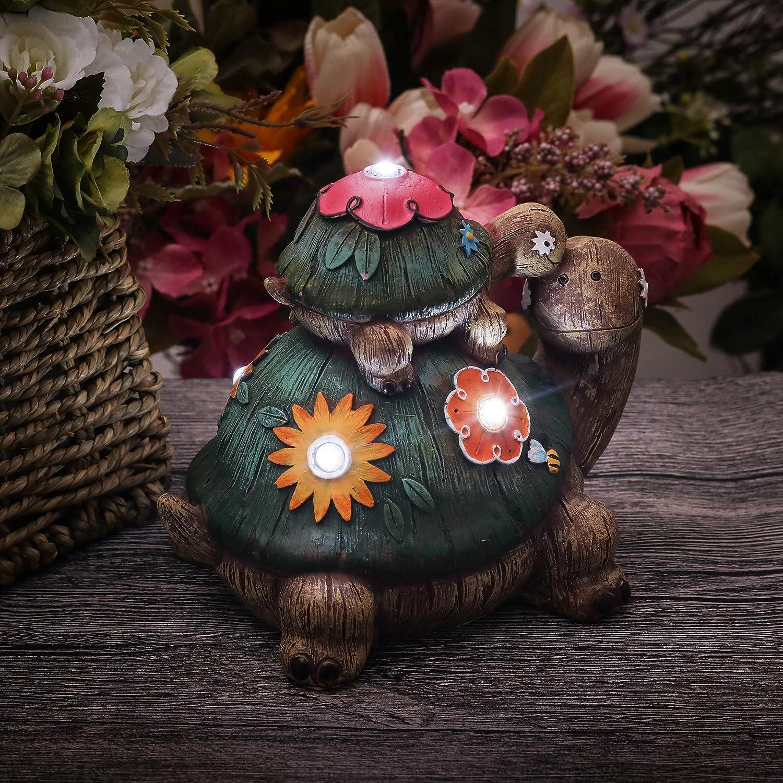 Paradiso Esterno TERESAS COLLECTIONS 6.7// 17cm Ornamenti da Giardino Fatina Turtle Decorazione per Garden Path Lawn Resina Accessori da Statua Esterna con Luci Solare