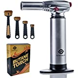 Sanmalfi Culinary Butane Torch and Measuring Spoons, Butane Blow Torch and Graduated Tools for Creme Brulee, BBQ and Baking