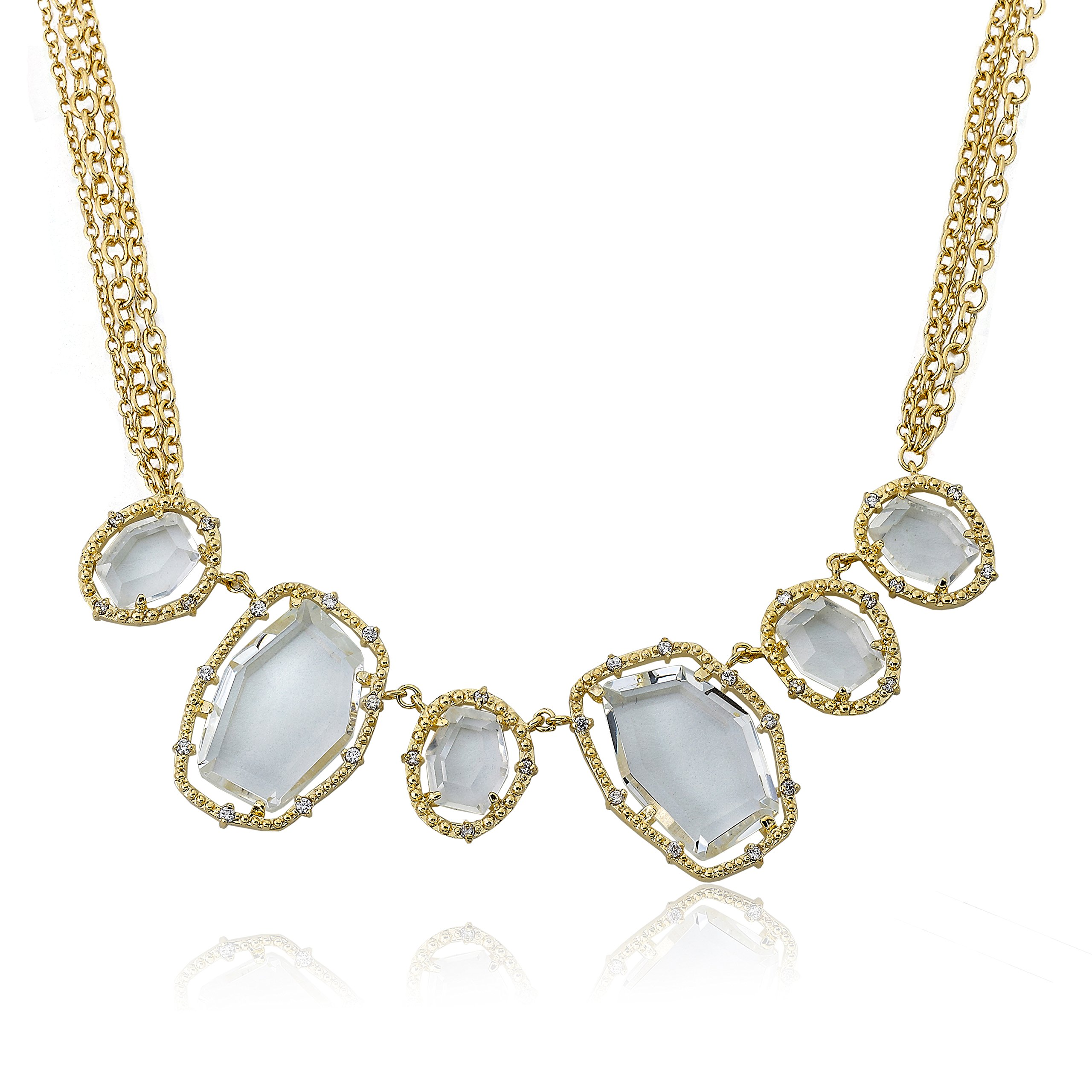 Riccova Sliced Glass 14k Gold-Plated Clear Sliced Glass Center Chain Necklace 16''/2'' by Riccova