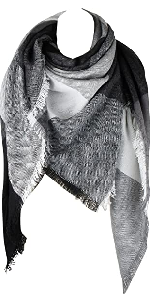 VIVIAN   VINCENT Women s Plaid Blanket Winter Scarf Warm Wrap Oversized  Shawl Cape Black Grey 8d5b80ede67