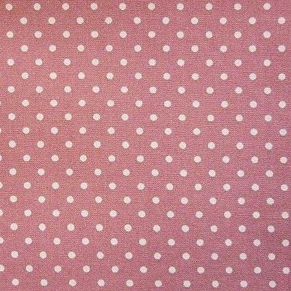100 Tessuto Di Cotone Popeline Rosa Con Pois Bianchi Al Metro