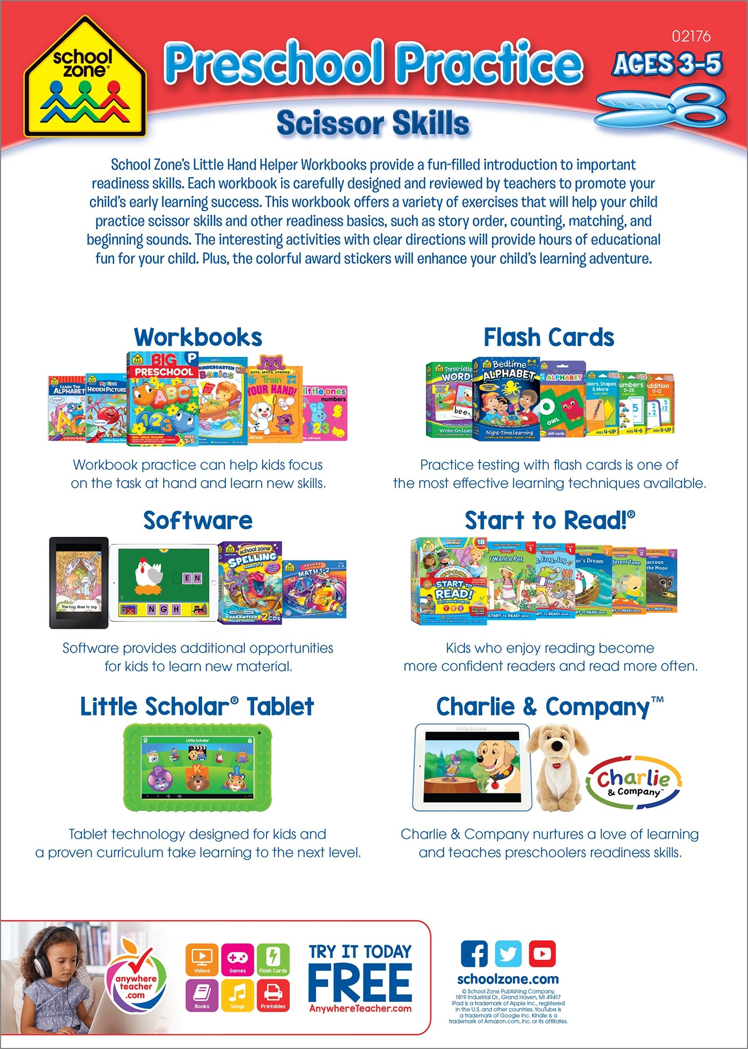 Preschool Practice Scissors Skills Workbook, Ages 3-5, playful ...