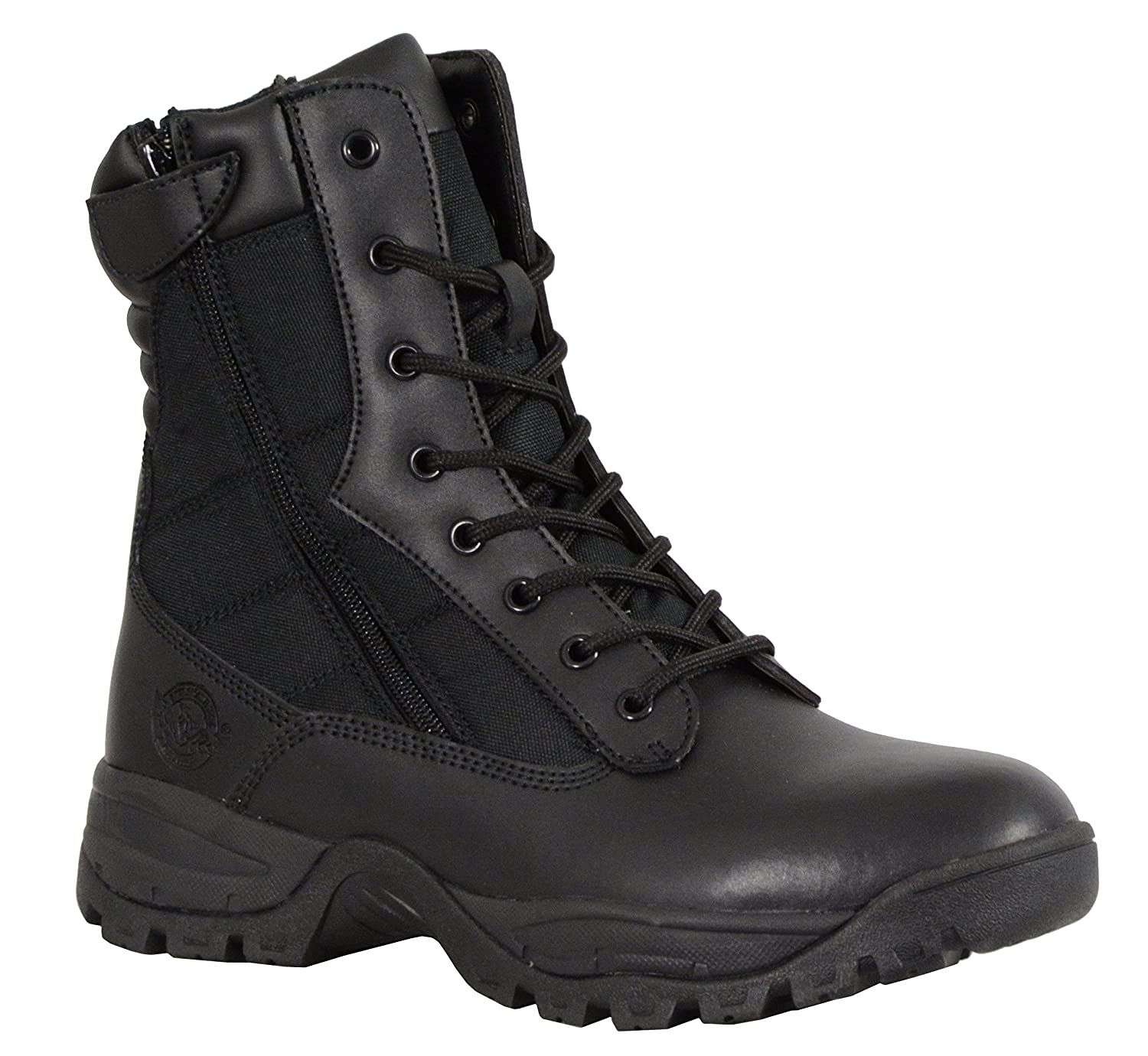 Milwaukee Performance Mens Leather Tactical Boots with Side Zipper Black, Size 7 9