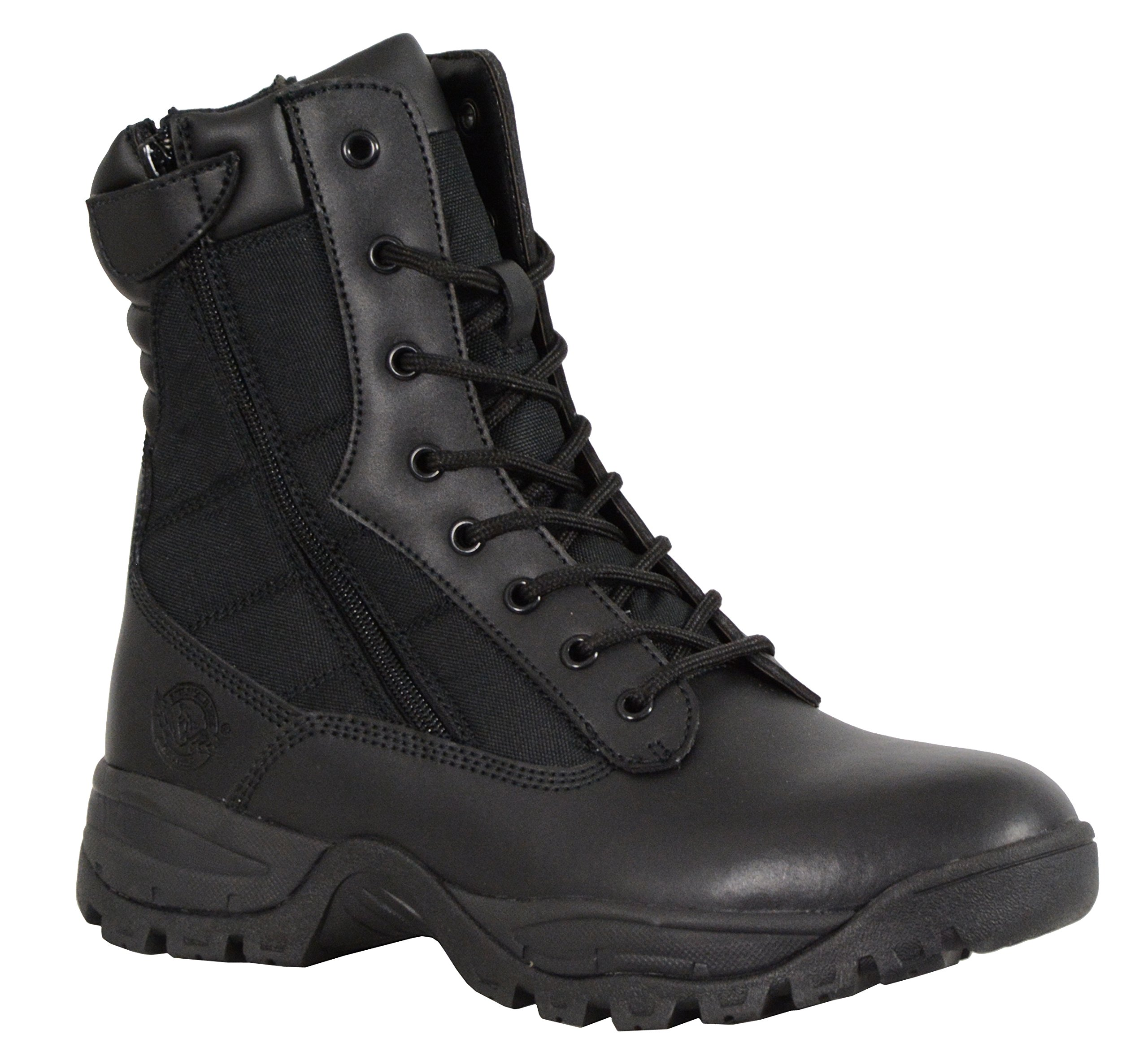 Milwaukee Performance Men's Leather Tactical Boots with Side Zipper (Black, Size 12) (9'')
