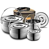 Camping Cookware Set - Compact Stainless Steel Campfire Cooking Pots and Pans | Combo Kit with Travel Tote Bag | Rugged…