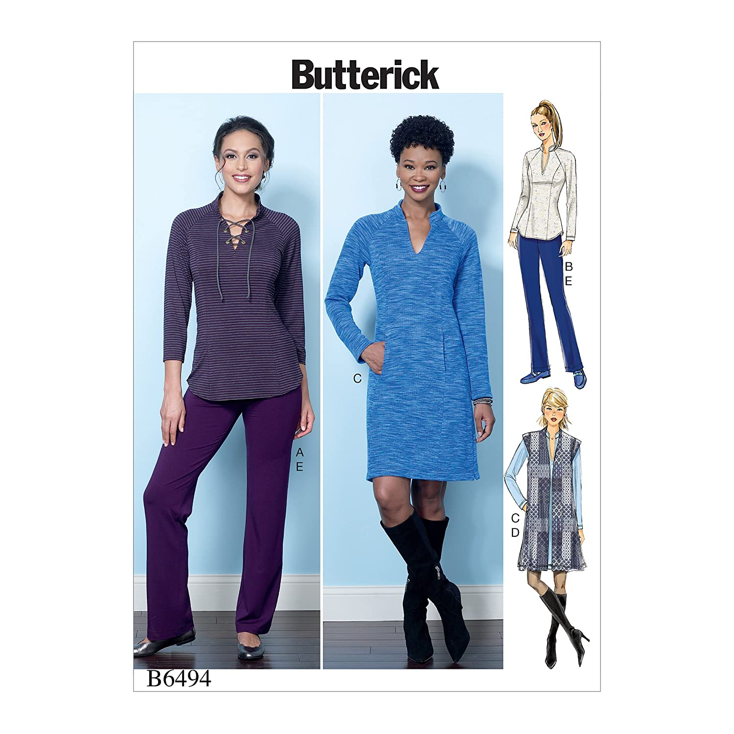 Butterick Patterns 6494 E5,Misses Top,Vest,Dress and Pants,Sizes 14-22, Tissue, Multi-Colour, 17 x 0.5 x 22 cm The McCall Pattern Company B6494E50