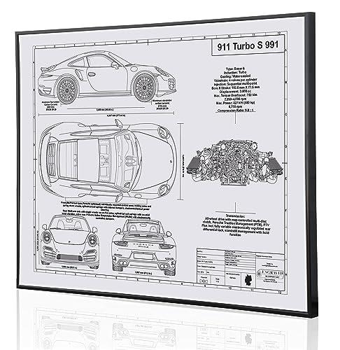 Amazon.com: Porsche 991 911 Turbo S Blueprint Artwork-Laser Marked & Personalized-The Perfect Porsche Gifts: Handmade
