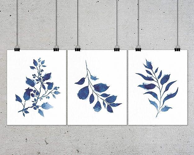 amazon com indigo botanical print set watercolor botanical