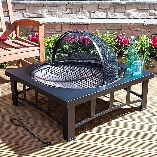 Pira para fuego efecto bronce con mesa cuadrada: Amazon.es: Jardín