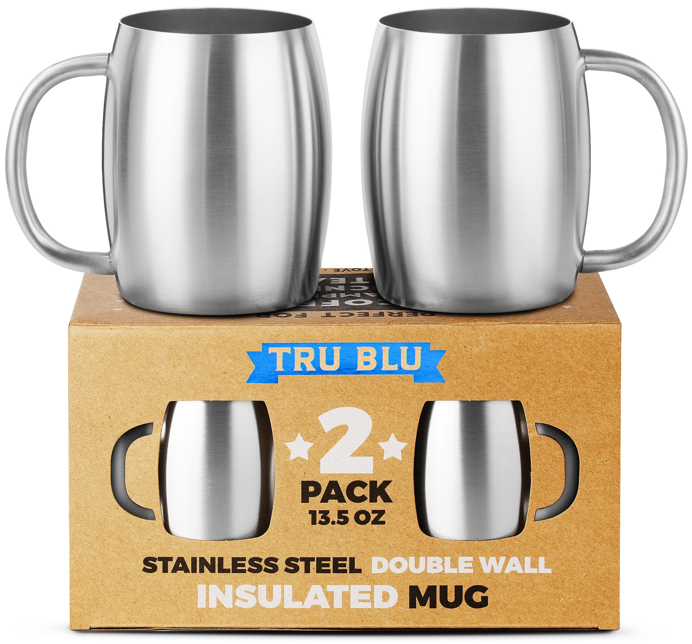 Stainless Steel Coffee Mug, Set of 2 – 13.5 oz Premium Double Wall Insulated Travel Mugs – Shatterproof, Dishwasher Safe, Comfortable Handle Cups for Tea, Beer by Tru Blu Steel