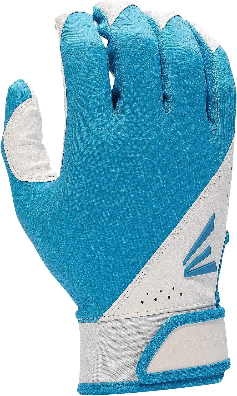 Womens XLarge White//Carolina Blue Pair Easton Fundamental Softball Batting Glove