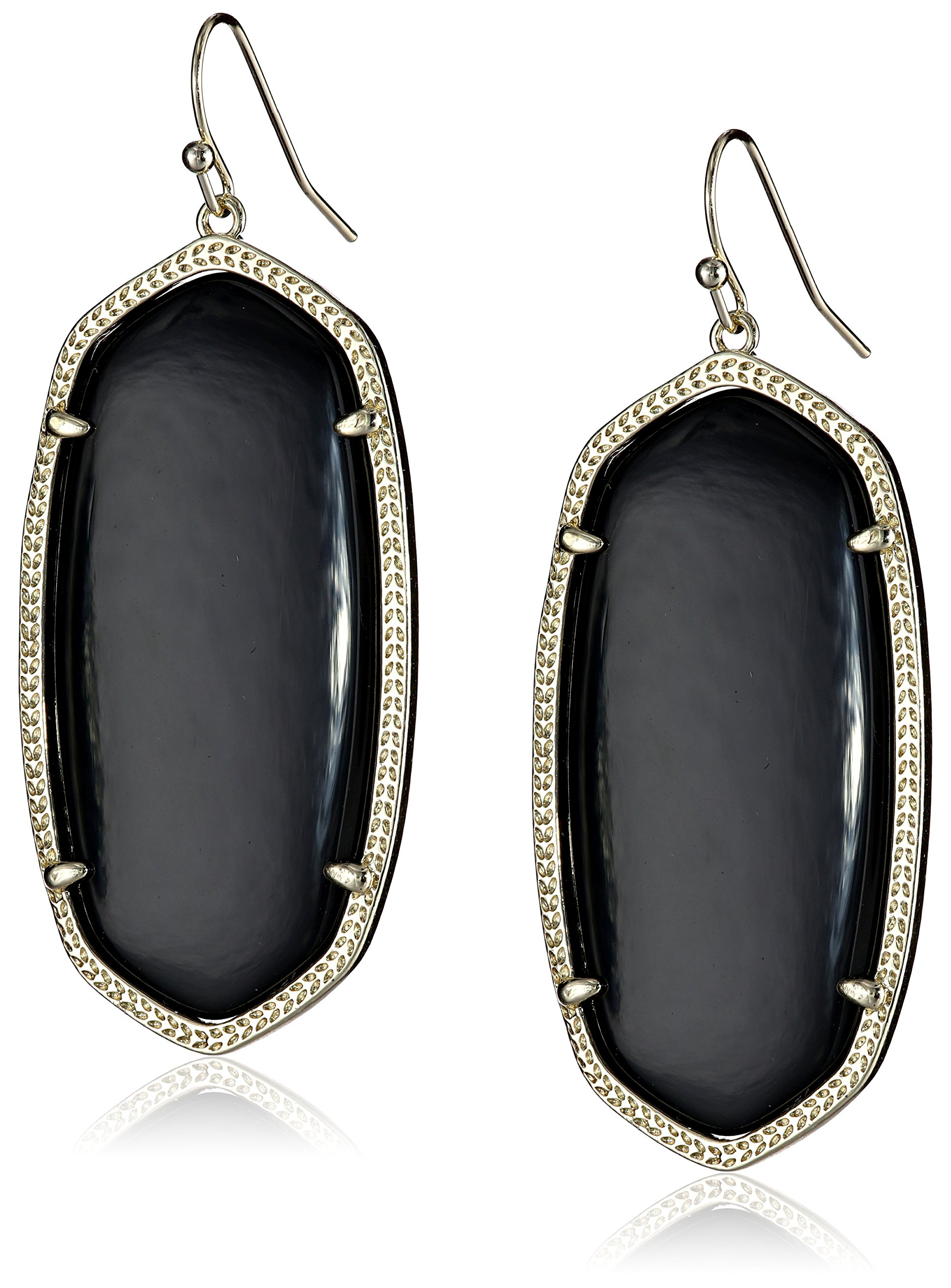 Kendra Scott''Signature'' Danielle Gold plated Black Glass Drop Earrings