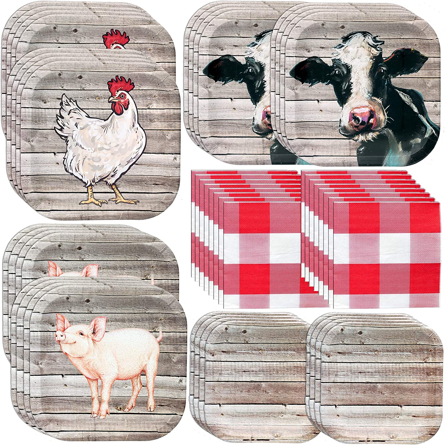 Havercamp Farm Table Party Bundle | Dinner & Dessert Plates, Luncheon Napkins | Great for Rustic Farm Themed Events, Barbeque Parties, and Cookouts