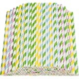 "Disposable Paper Straws, Pack of 200 Colorful Stripes Decoration Paper Drinking Straws for Birthday, Wedding, Christmas, Party Photo Props, Celebration Parties, Baby Shower, 7.76"" x 0.24"", 4 Colors"