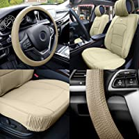 FH Group PU205102 Ultra Comfort Highest Grade Faux Leather Seat Cushions (Beige)...
