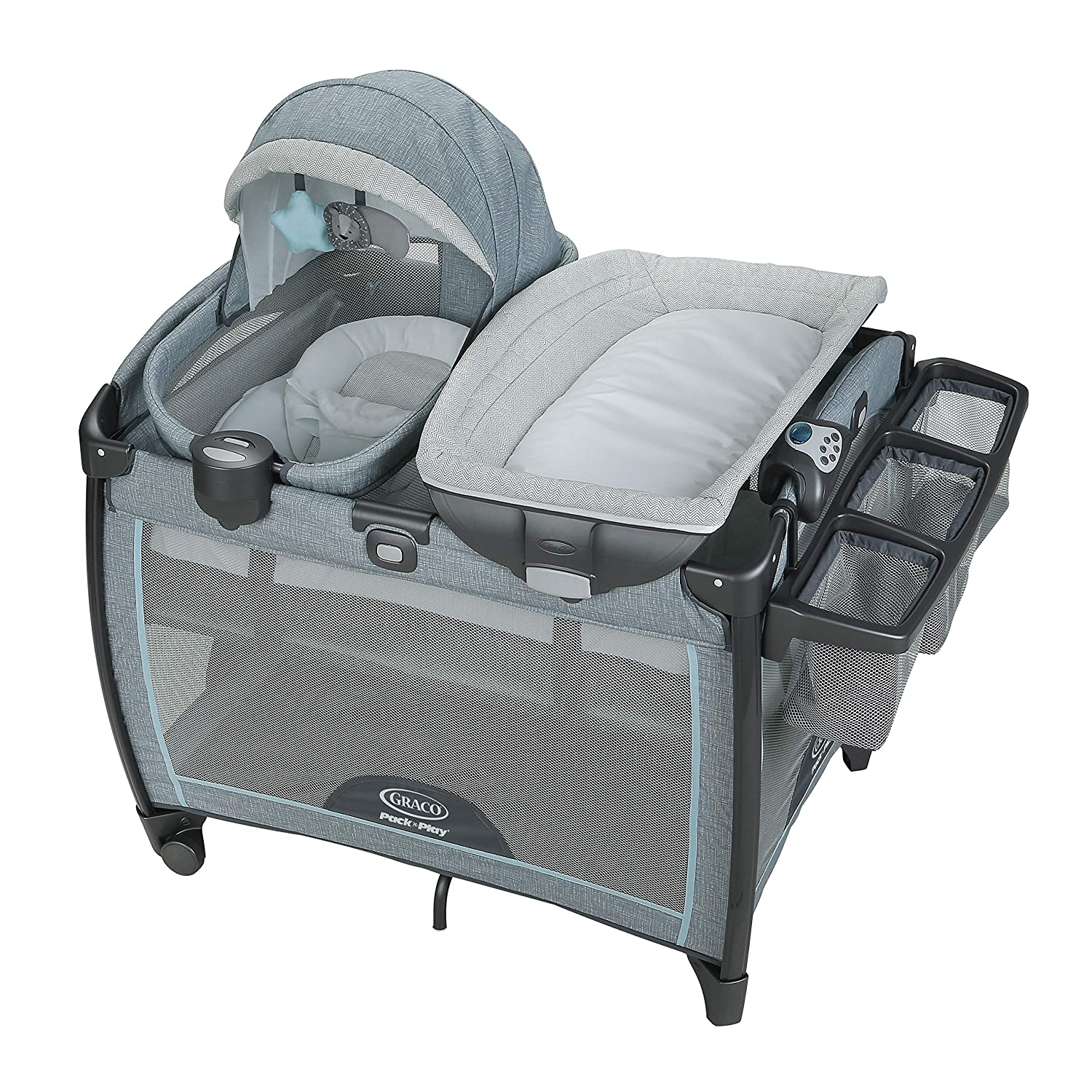 Graco Pack n Play Day2Dream Playard Includes Portable Napper, Full-Size Infant Bassinet, and Diaper Changer, Layne