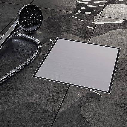 Plaza borde desag/üe para 20/x 20/cm, vilstein Hux Home con sif/ón suelo y de ducha Plateado VS-DB03-20R