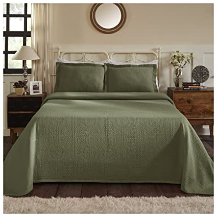 SAGE GREEN Twin 100/% COTTON MATELASSE COVERLET Full Queen KIng QUILT or Sham