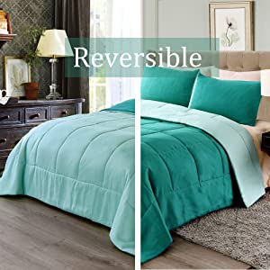 Exclusivo Mezcla Lightweight Reversible 2-Piece Comforter Set for All Seasons, Down Alternative Comforter with 1 Pillow Shame, Twin Size, Teal Green