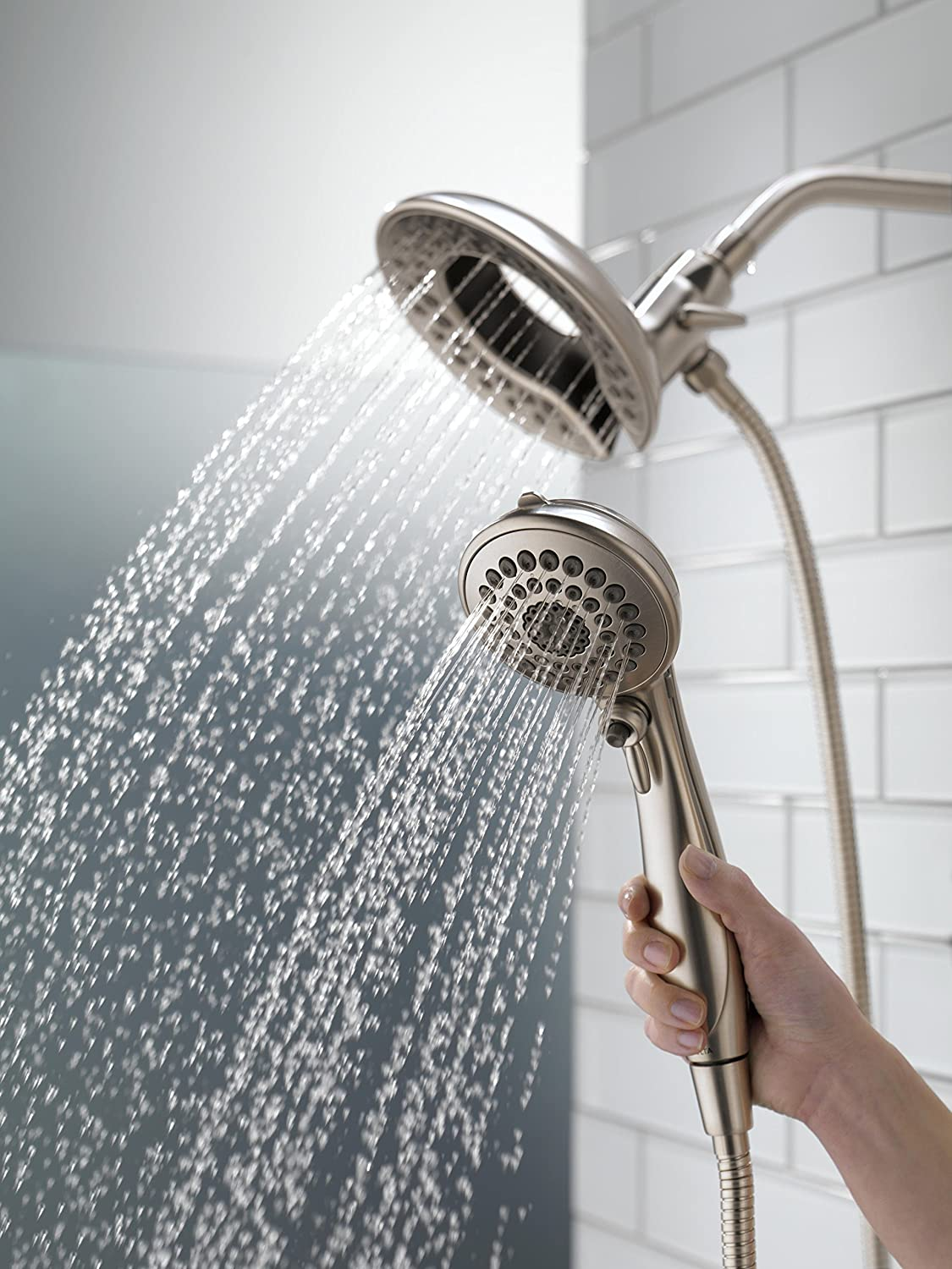 Delta 58469-SS-PK 5-Spray In2ition 2-in-1 Hand Held Shower Head with ...
