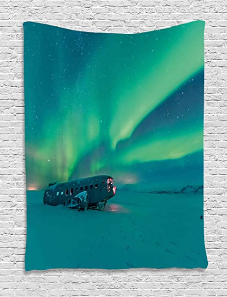 Northern Lights Tapestry by Ambesonne, Old Plane Wreck under