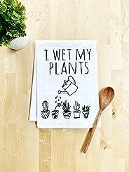 Funny Kitchen Towel, I Wet My Plants, Flour Sack Dish Towel, Sweet Housewarming Gift, White