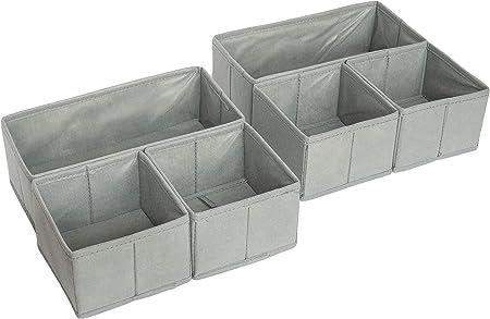 Caja plegable de plástico para cajones y armarios, 4 unidades, con 8 cajones, color gris, gris, 6er Set: Amazon.es: Bricolaje y herramientas