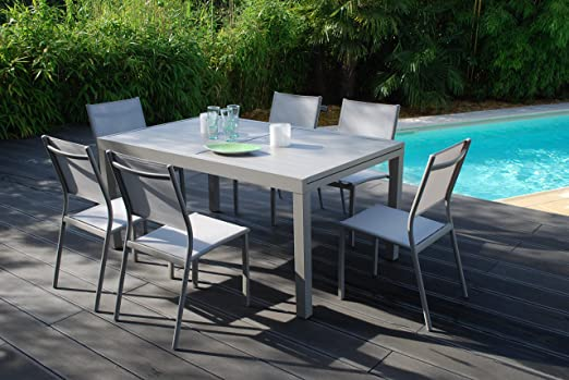 Salón de jardín Vital 240 Topo – Mesa extensible (160/240 x 100 cm con 6 sillas clara: Amazon.es: Jardín
