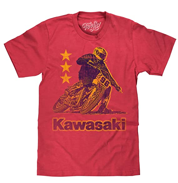 e76280cf40ea Tee Luv Kawasaki Shirt - Vintage Kawasaki Motorcycle Racing T-Shirt (Small)  Red