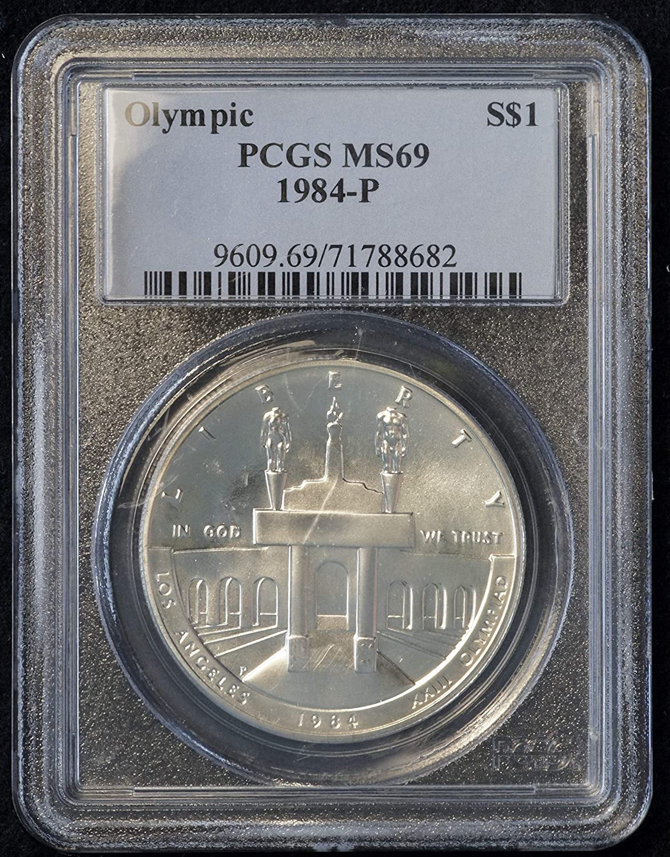 PCGS Proof-70 DCAM 1984-S Los Angeles XXIII Olympiad Coliseum Silver Dollar