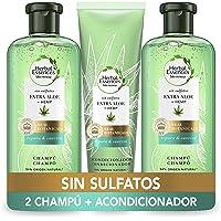 Herbal Essences Sin Sulfatos Ni Siliconas, Ingredientes Naturales Aloe Puro Y Hemp, 2 Champús 380 ml + Acondicionador…