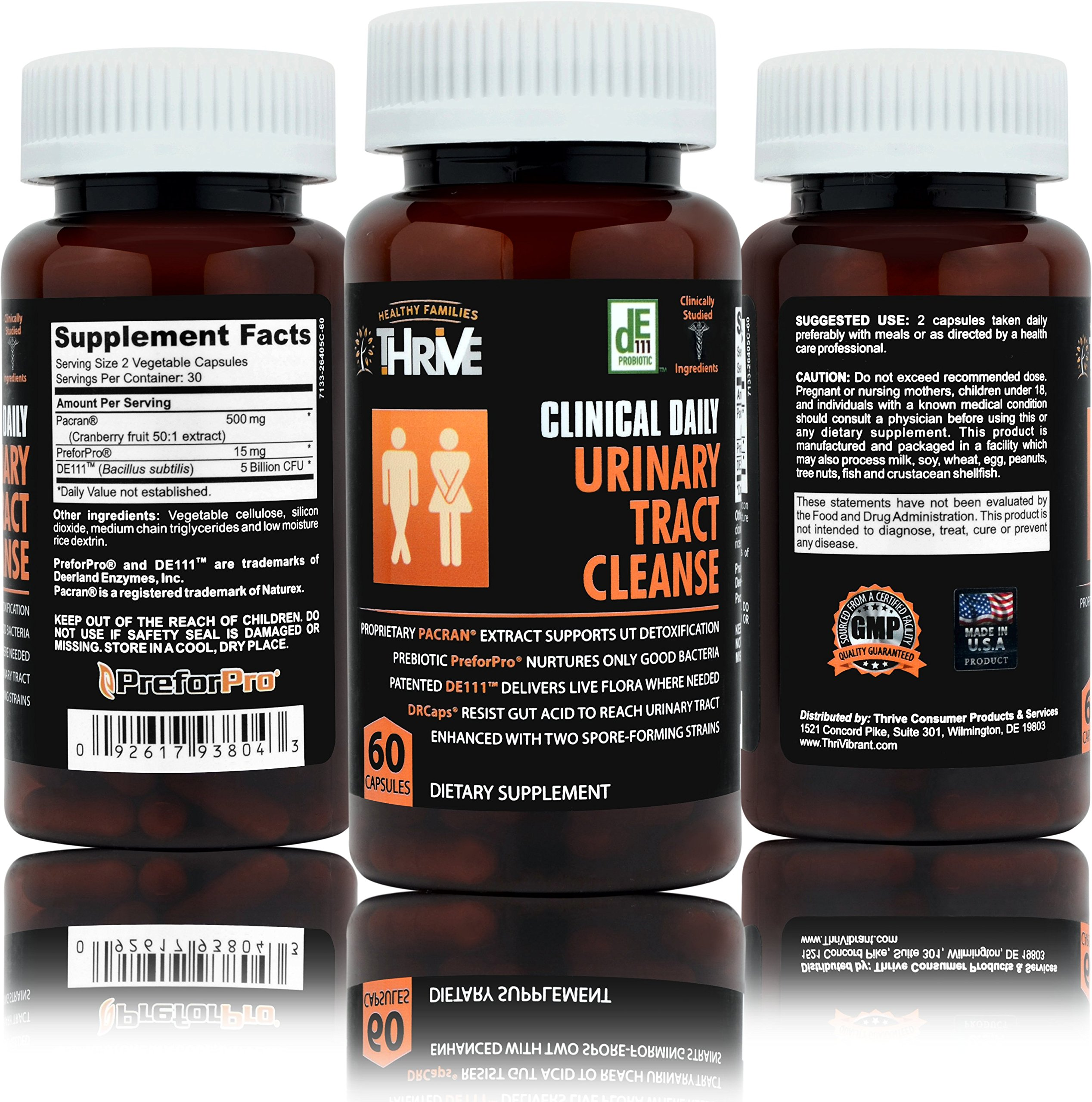 CLINICAL DAILY Urinary Tract Cleanse. Natural Cranberry (= 1 glass Juice) Probiotic supplement plus Prebiotics. Restore UTI, Bladder & Kidney Health, Immune Infection Support. 60 Vegetable Capsules.