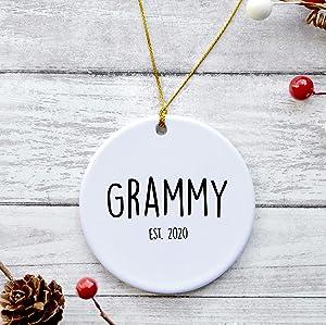 43LenaJon Personalized Grammy Christmas Ornament, New Grandma Ceramic Ornament, Grammy Est Gift, Baby Reveal Ornaments