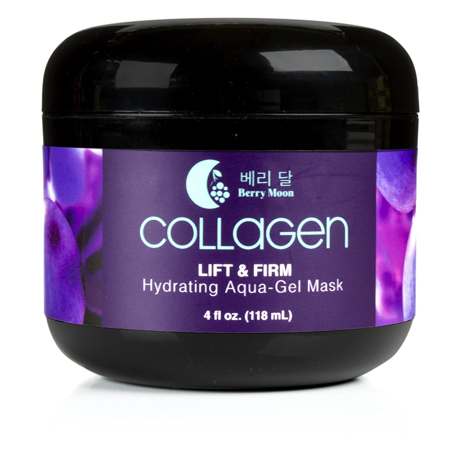 Berry Moon Anti-Aging Collagen Mask for hydration, dark spots, and enlarged pores. With rosewater and coconut oil. Large 4oz jar.