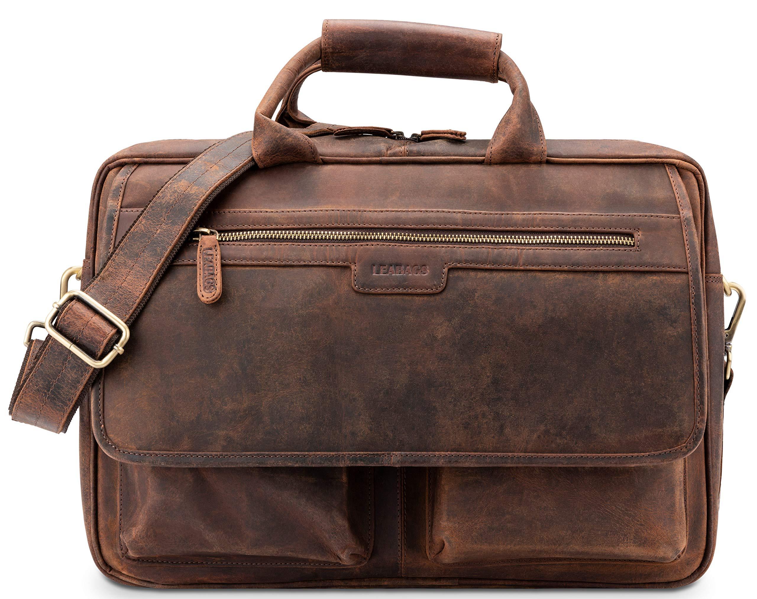 4c9f9d6283ccd LEABAGS  Dublin  Aktentasche Echt-Leder Umhängetasche Laptop 15 Zoll  Schultertasche Herren und Damen