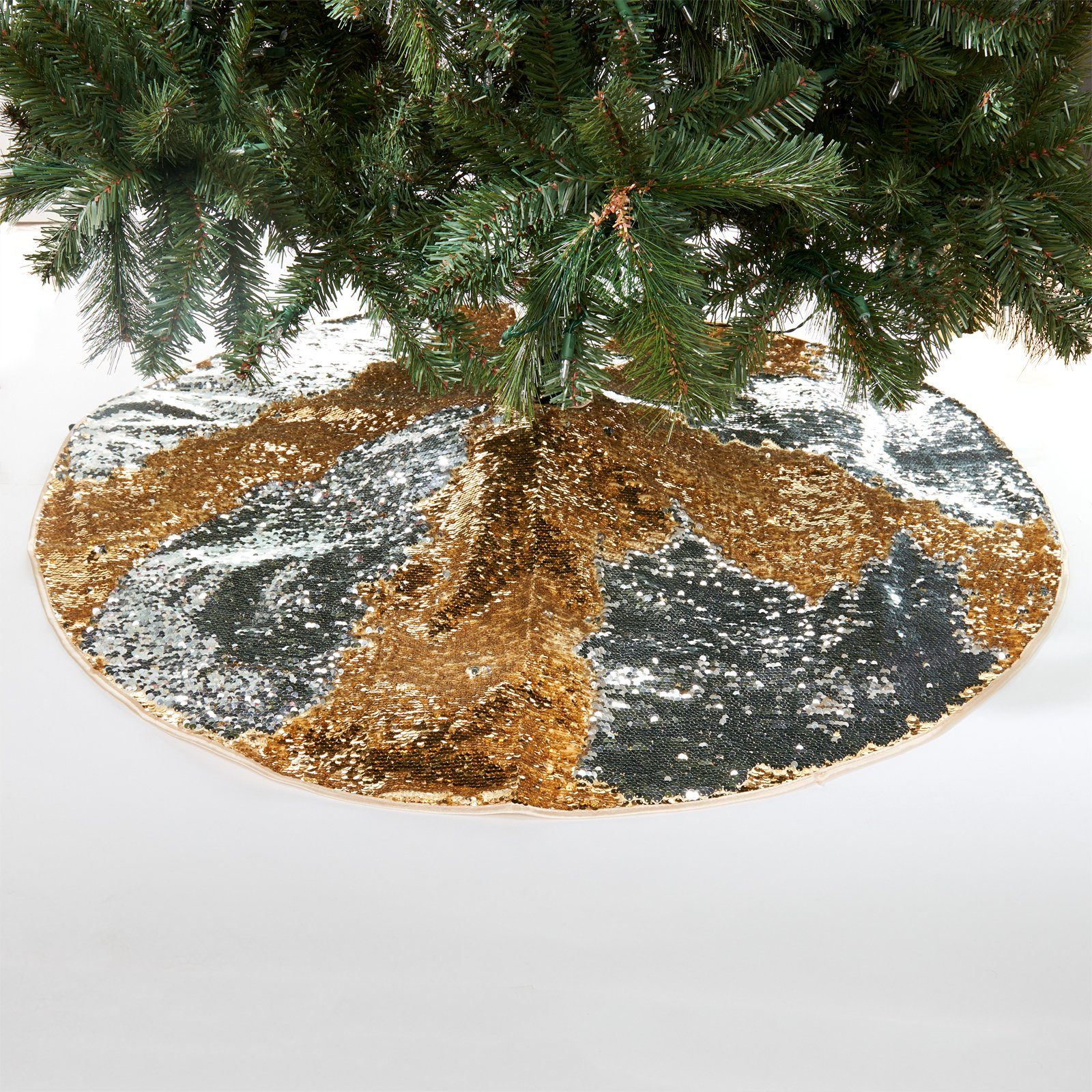 Gold & Silver Reversible Sequin Christmas Tree Skirt