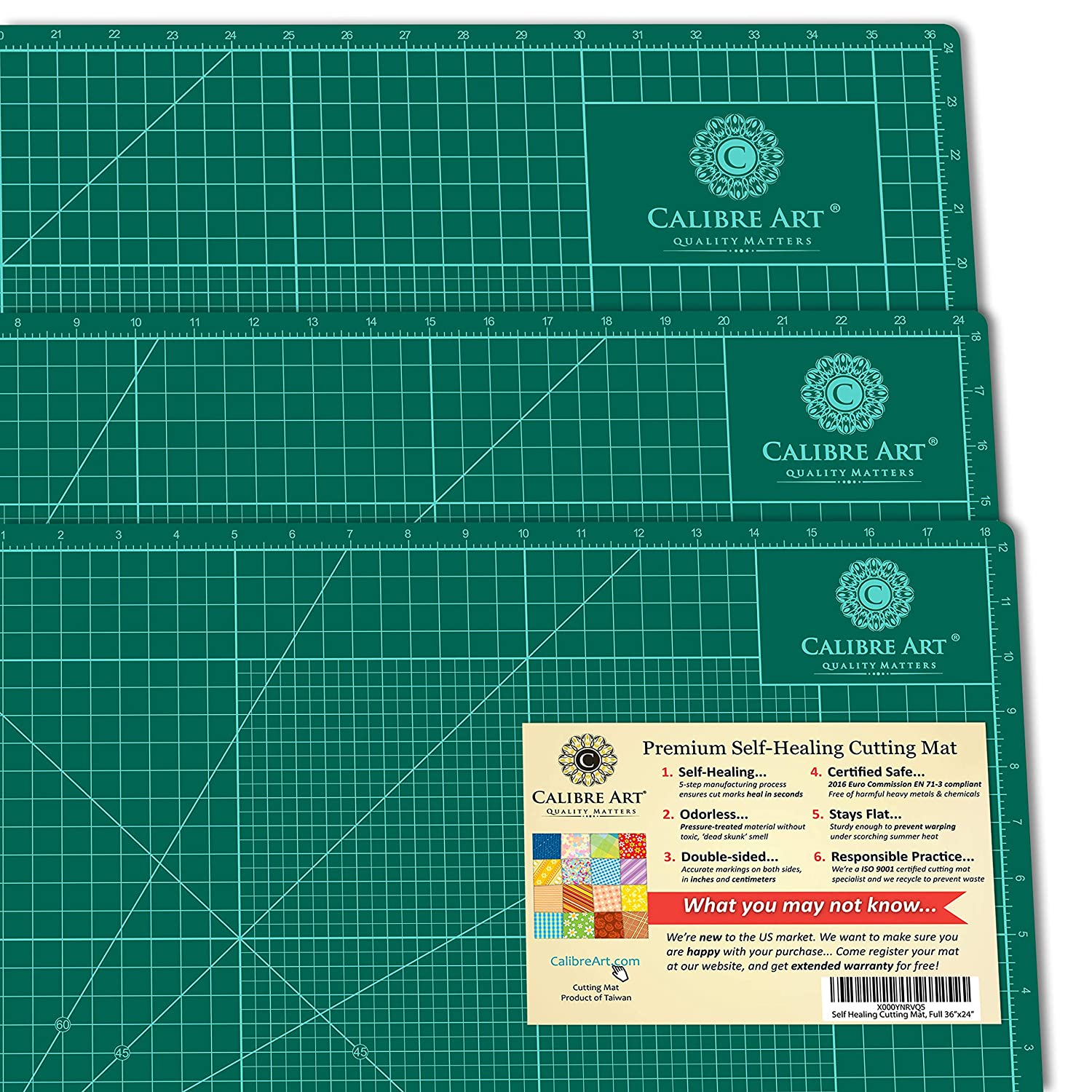 Self Healing Rotary Cutting Mat, Full 24x36, Best for Quilting Sewing | Warp-Proof & Odorless (Not From China) Calibre Art 6057989
