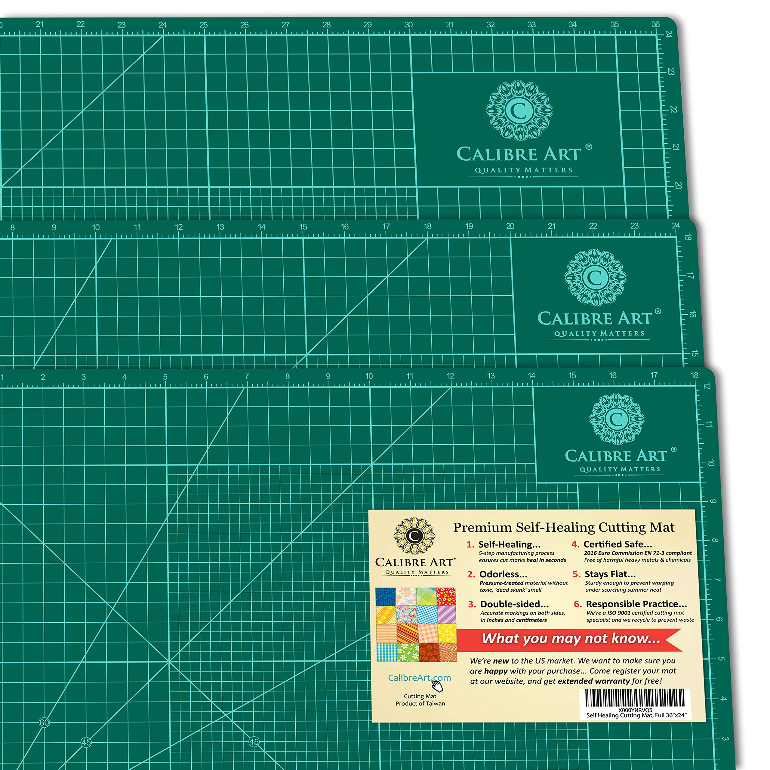 Self Healing Rotary Cutting Mat, Full 24x36, Best for Quilting Sewing | Warp-Proof & Odorless (Not from China) by Calibre Art