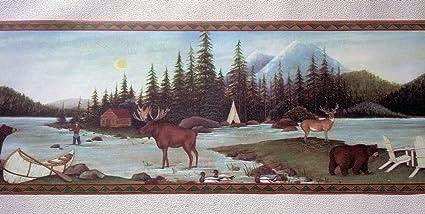Lodge Wallpaper Border Fishing Moose Bear Camping Amazon Com