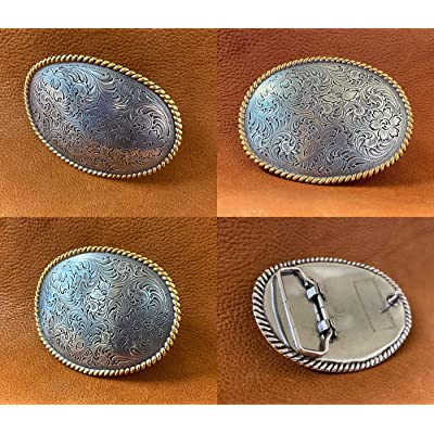 Details about  /WESTERN COWBOY COWGIRL OVAL ROPE GOLD AND SILVER PLAYED TROPHY BELT BUCKLE