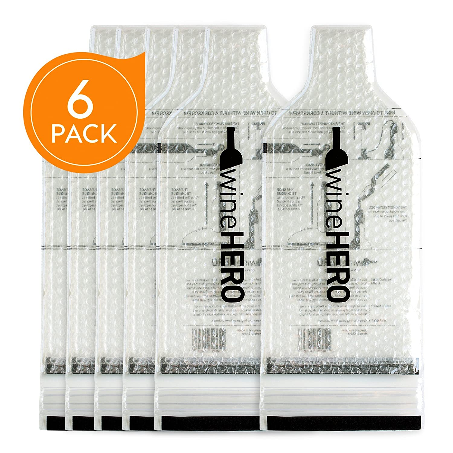 WineHero - 6 Pack Reusable Leak Proof Bottle Protector Bag for Travel Pack in Airplane Checked Baggage, Luggage, or Suitcase - Good for Cruise Travel - Wine Travel Accessory WineHead Wine India Nebraska Echo - 1