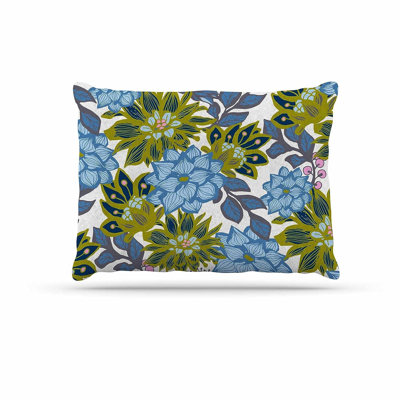 Kess InHouse Amy Reber bluee Dahlias  Green Floral Fleece Dog Bed, 30 by 40