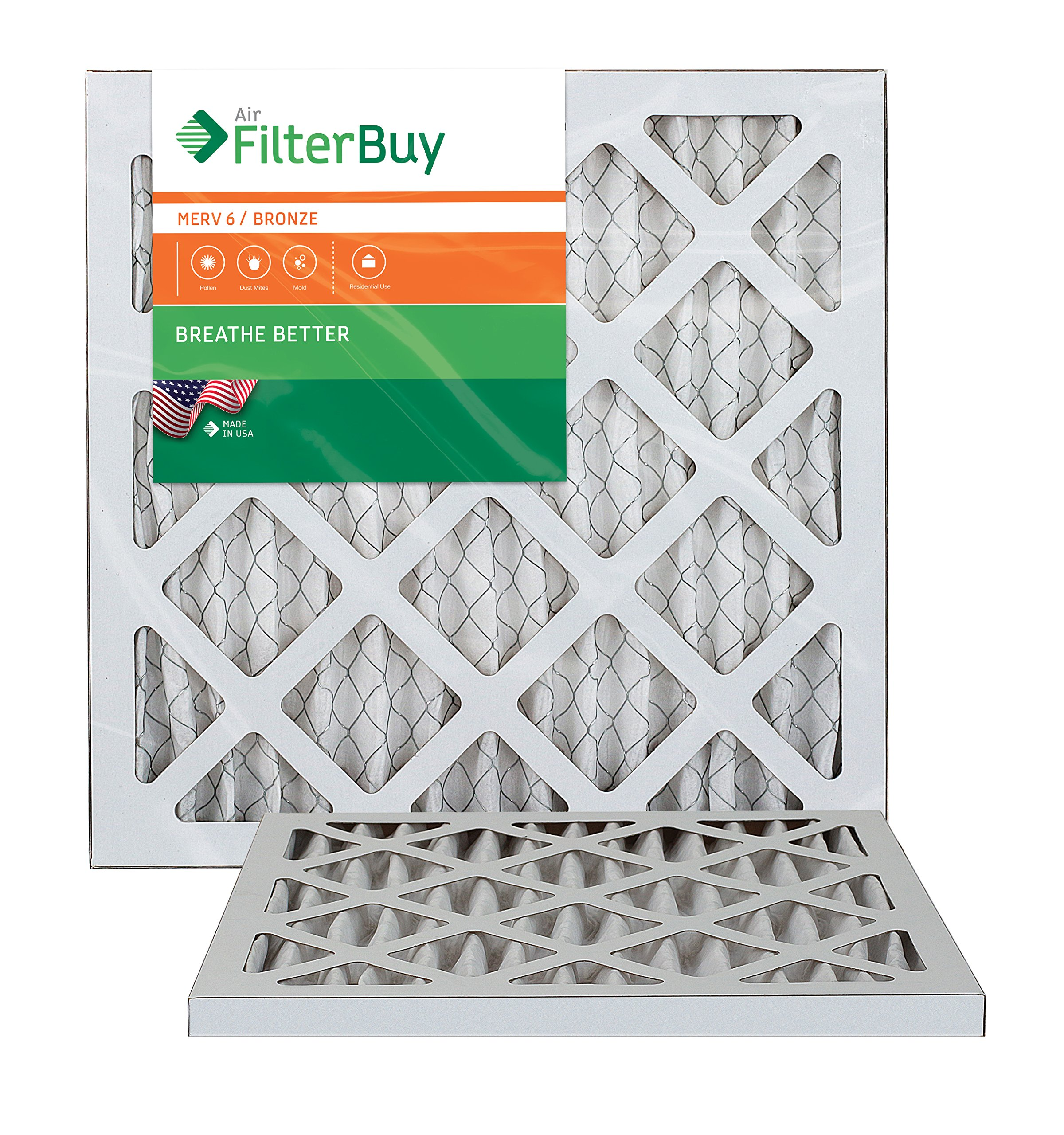 AFB Bronze MERV 6 10x18x1 Pleated AC Furnace Air Filter. Pack of 2 Filters. 100% produced in the USA.