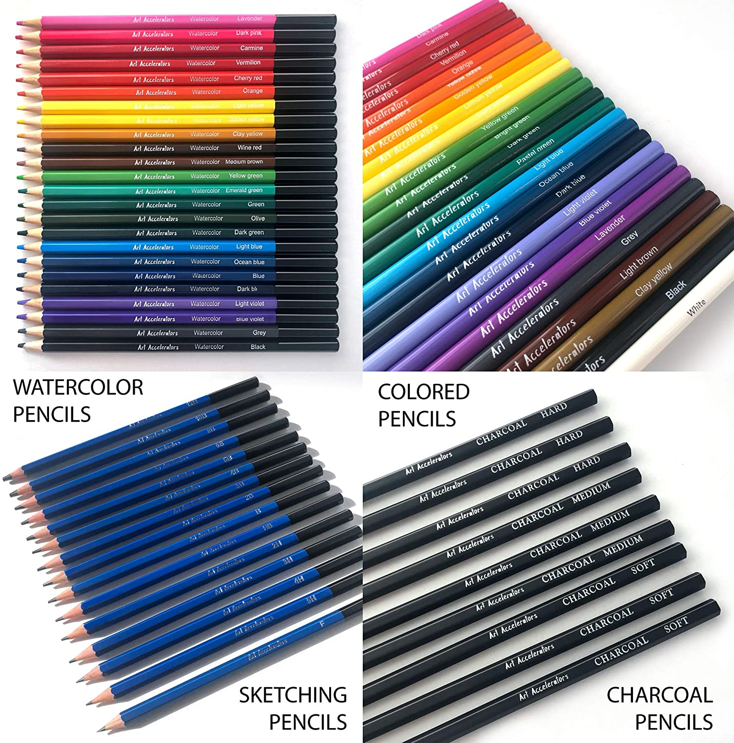 Art Pencils Drawing Kit – 72 Pencil Supplies Set w/ 15 Sketching, 24 Oil Color, 24 Watercolor & 9 Charcoal Pencils. For Beginners, Adults & Professionals. Graphite Sketch Sets : Office Products