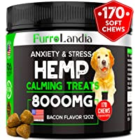 FurroLandia Hemp Calming Treats for Dogs - 170 Soft Chews - Made in USA - Hemp Oil for Dogs…