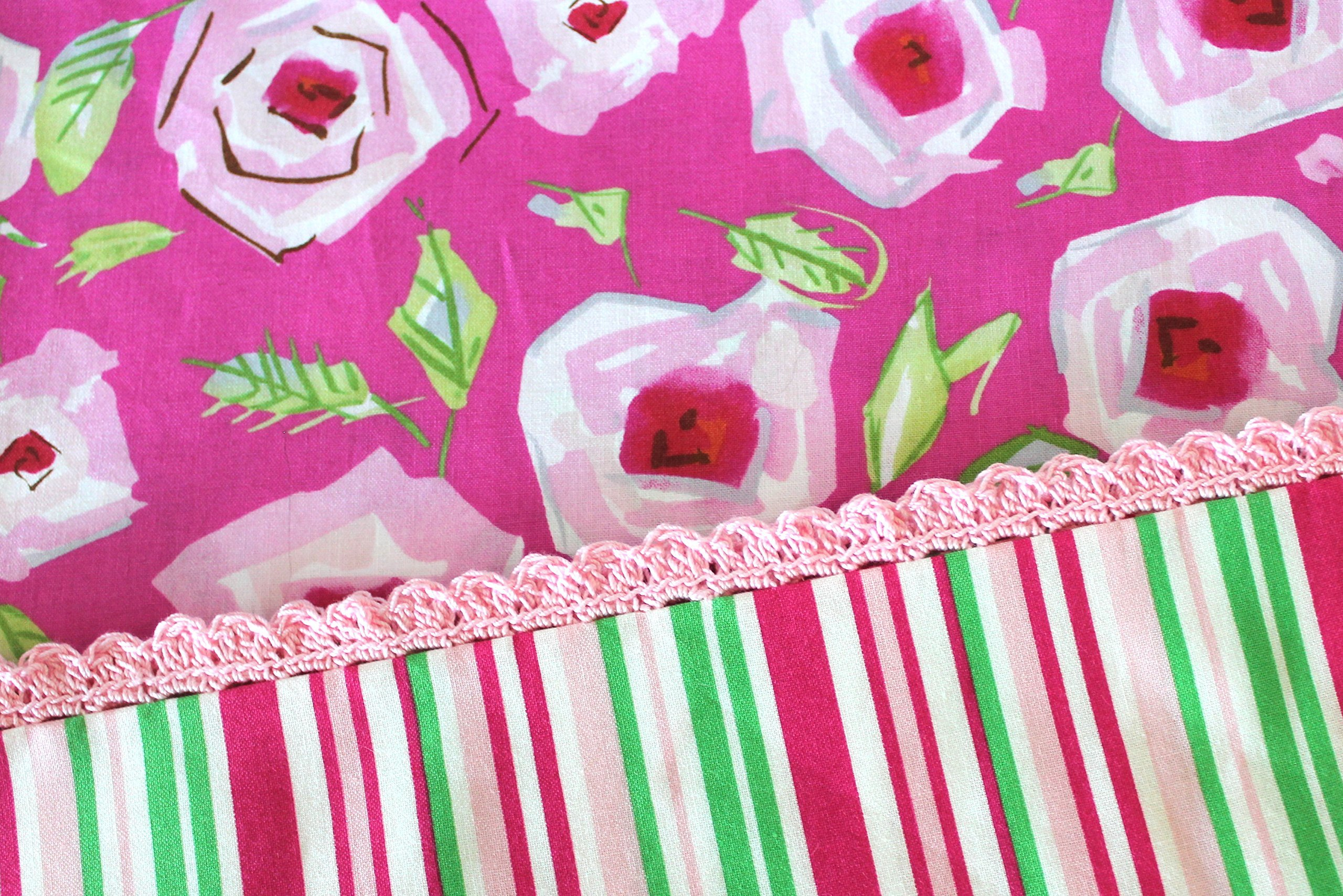 Standard Pillowcase With Crocheted Edge Pink Red Yellow Green Floral Cotton Fabric with a striped hem and pretty pink crocheted edging. Ready to Ship.