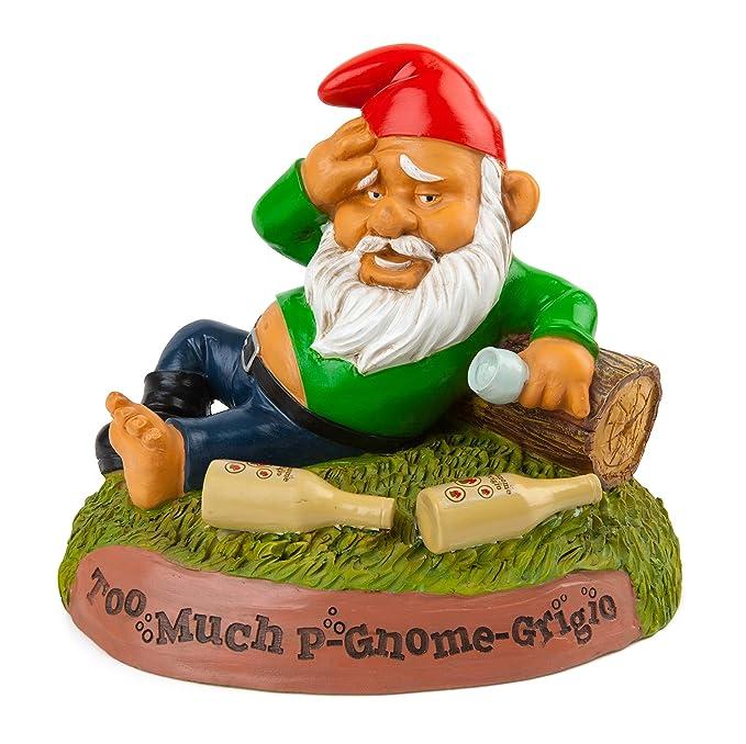 BigMouth Inc Hungover Garden Gnome, Too Much P-Gnome Grigio Saying, Funny Lawn Gnome Statue, Garden Decoration