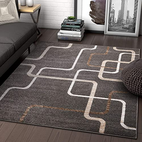 Well Woven Metro Stripes Grey Geometric Modern Lines Area Rug 5×7 5 3 x 7 3 Carpet