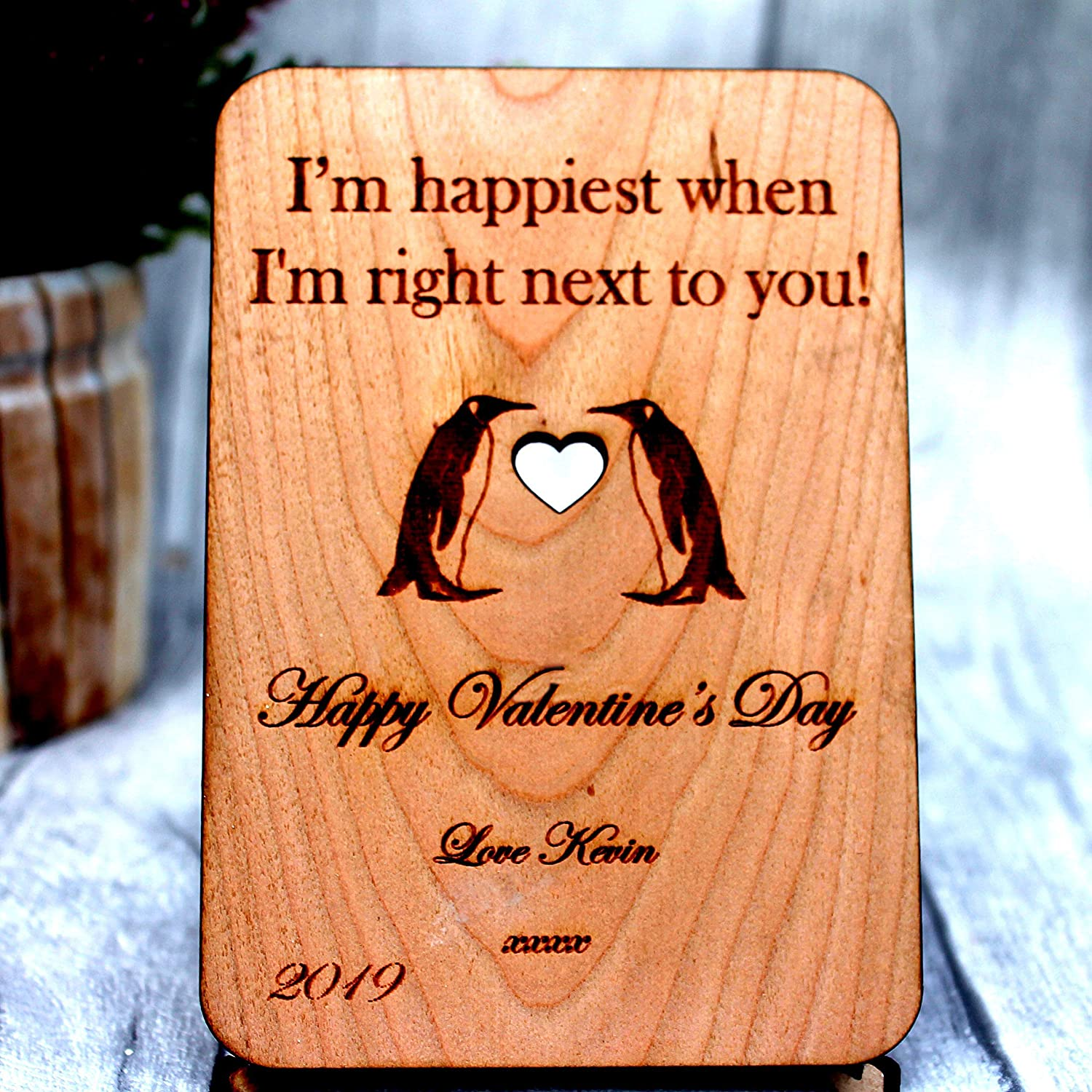 Amazon Com Valentines Day Gift Men Husband Cherry Wood Two Penguin Personalized Love Sign Handmade