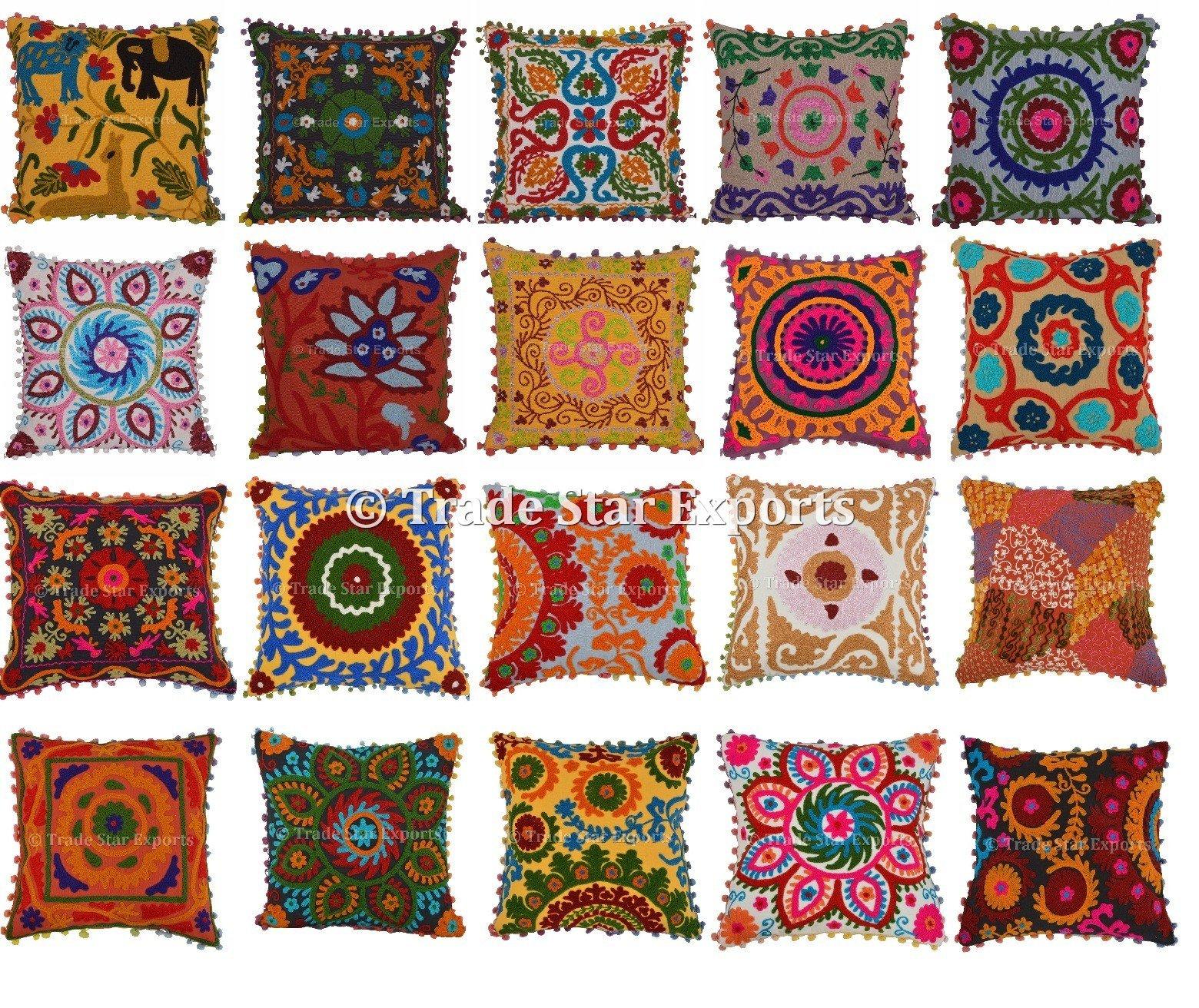 20 Pcs Indian Suzani Cushion, Bohemian Pillow Cases, 16x16 Throw Pillows, Pom Pom Cushion Cover, Decorative Embroidered Pillow Shams (20)